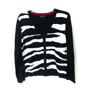 Jones New York wiggle stripe cardigan sweater Sz.M